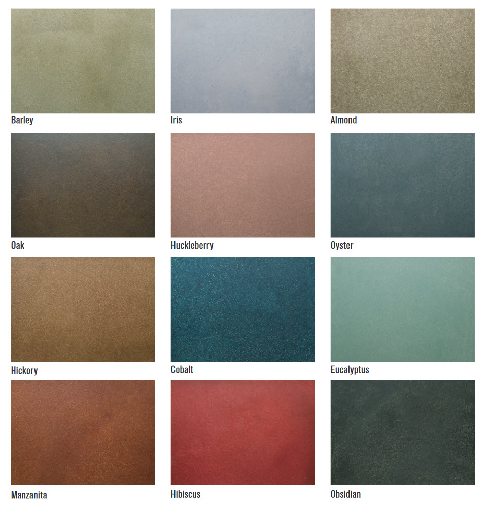 color chart for exterior stained concrete patios, garage floors and driveways