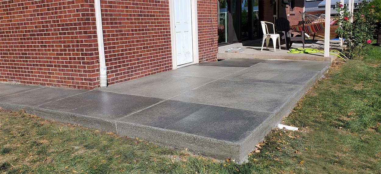 concrete patio Denver after installation and sealant treatment
